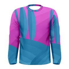Pink and blue landscape Men s Long Sleeve Tee