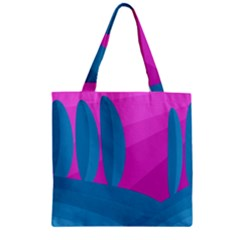 Pink and blue landscape Zipper Grocery Tote Bag