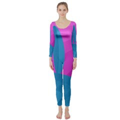 Pink and blue landscape Long Sleeve Catsuit