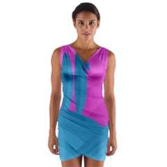 Pink And Blue Landscape Wrap Front Bodycon Dress