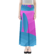 Pink and blue landscape Maxi Skirts