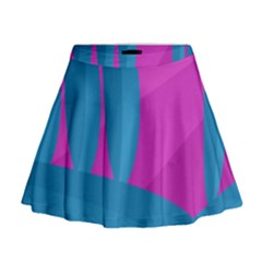 Pink and blue landscape Mini Flare Skirt