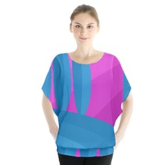 Pink And Blue Landscape Blouse