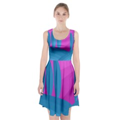 Pink and blue landscape Racerback Midi Dress