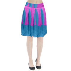 Pink and blue landscape Pleated Skirt