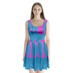 Pink and blue landscape Split Back Mini Dress