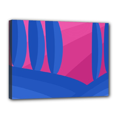 Magenta and blue landscape Canvas 16  x 12
