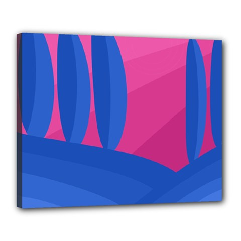 Magenta and blue landscape Canvas 20  x 16
