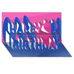 Magenta and blue landscape Happy Birthday 3D Greeting Card (8x4)