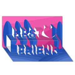 Magenta and blue landscape Best Friends 3D Greeting Card (8x4)