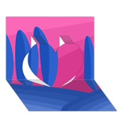 Magenta and blue landscape Heart 3D Greeting Card (7x5)