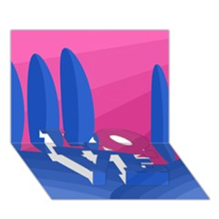 Magenta and blue landscape LOVE Bottom 3D Greeting Card (7x5)