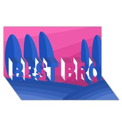 Magenta and blue landscape BEST BRO 3D Greeting Card (8x4)