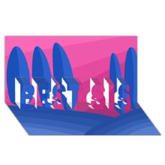 Magenta And Blue Landscape Best Sis 3d Greeting Card (8x4)