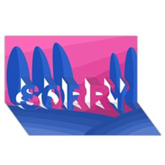 Magenta and blue landscape SORRY 3D Greeting Card (8x4)