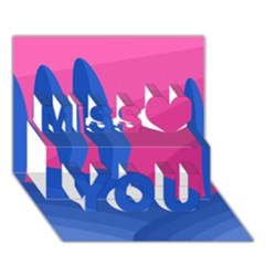 Magenta and blue landscape Miss You 3D Greeting Card (7x5)