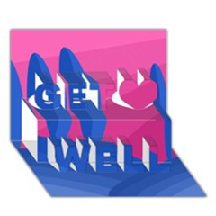 Magenta and blue landscape Get Well 3D Greeting Card (7x5)