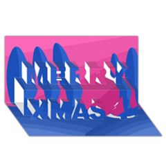 Magenta and blue landscape Merry Xmas 3D Greeting Card (8x4)