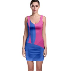 Magenta and blue landscape Sleeveless Bodycon Dress