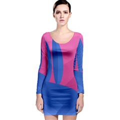 Magenta and blue landscape Long Sleeve Bodycon Dress
