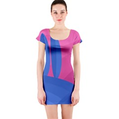 Magenta and blue landscape Short Sleeve Bodycon Dress