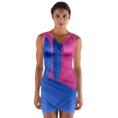 Magenta and blue landscape Wrap Front Bodycon Dress
