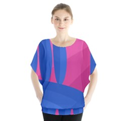 Magenta And Blue Landscape Blouse