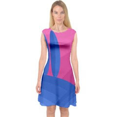 Magenta and blue landscape Capsleeve Midi Dress