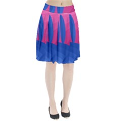 Magenta and blue landscape Pleated Skirt