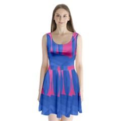 Magenta and blue landscape Split Back Mini Dress