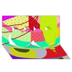 Colorful abstraction by Moma Twin Hearts 3D Greeting Card (8x4)