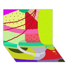 Colorful abstraction by Moma Circle Bottom 3D Greeting Card (7x5)