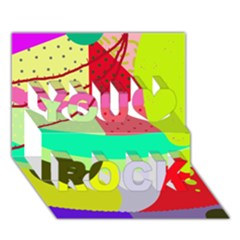 Colorful abstraction by Moma You Rock 3D Greeting Card (7x5)