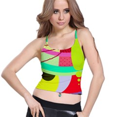 Colorful abstraction by Moma Spaghetti Strap Bra Top