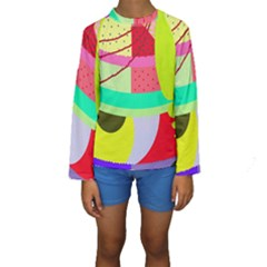 Colorful abstraction by Moma Kid s Long Sleeve Swimwear