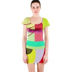 Colorful abstraction by Moma Short Sleeve Bodycon Dress
