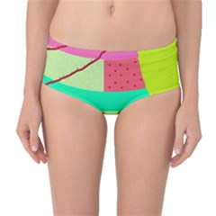 Colorful abstraction by Moma Mid-Waist Bikini Bottoms