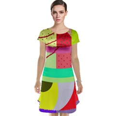 Colorful Abstraction By Moma Cap Sleeve Nightdress