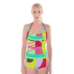 Colorful Abstraction By Moma Boyleg Halter Swimsuit