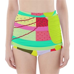 Colorful abstraction by Moma High-Waisted Bikini Bottoms