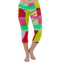 Colorful abstraction by Moma Capri Yoga Leggings