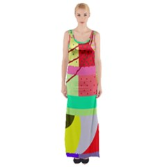 Colorful Abstraction By Moma Maxi Thigh Split Dress