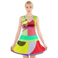 Colorful abstraction by Moma V-Neck Sleeveless Skater Dress