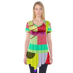 Colorful abstraction by Moma Short Sleeve Tunic