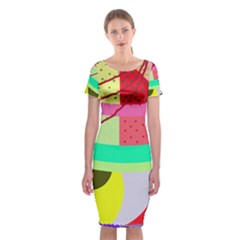 Colorful abstraction by Moma Classic Short Sleeve Midi Dress