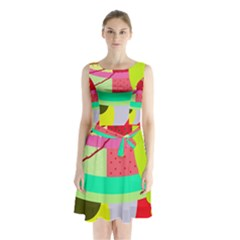 Colorful abstraction by Moma Sleeveless Chiffon Waist Tie Dress