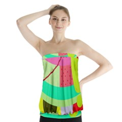 Colorful abstraction by Moma Strapless Top