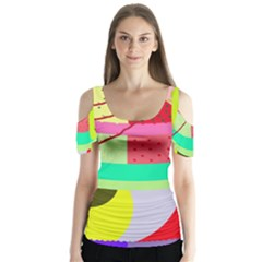 Colorful abstraction by Moma Butterfly Sleeve Cutout Tee