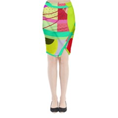Colorful abstraction by Moma Midi Wrap Pencil Skirt