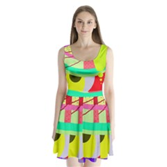 Colorful abstraction by Moma Split Back Mini Dress